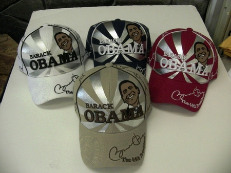 New Obama Silver Portrait Commerative Hats