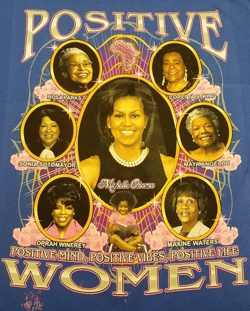 New Positive Women 2 sided BLUE T-shirt With Michelle Obama