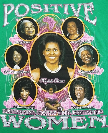 New Positive Women 2 Sided GREEN T-shirt with Michelle Obama