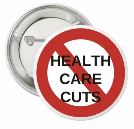 No Healthcare Cuts Button
