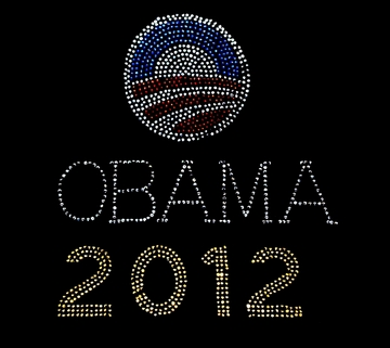 Obama 2012 Logo Rhinestone Womens Fitted Shirt - Missy