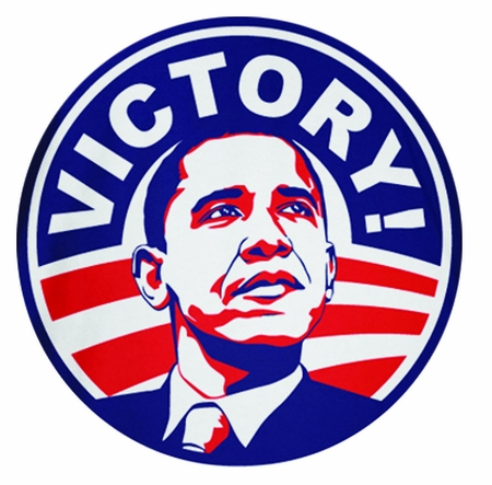 Obama 2012 Victory Red White and Blue Button