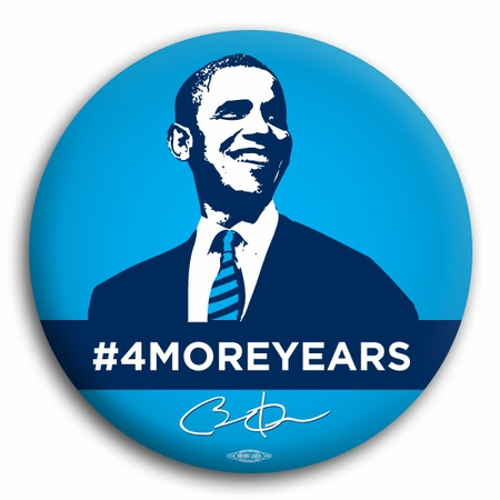 Obama 4 More Years Blue button