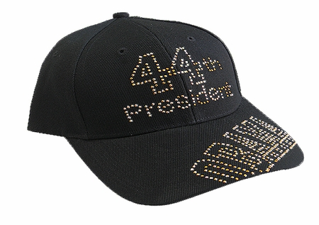 Obama 44th President Gold Rhinestone Black Baseball Cap