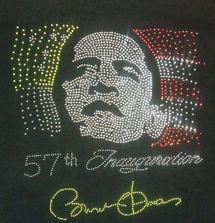Obama 57th Inaugural Rhinestone Neon Flag T-Shirt