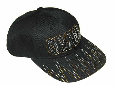 Obama Black Baseball Cap Rhinestone Black & Gold