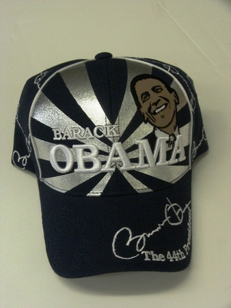 Obama Black Silver Portrait Commerative Hat