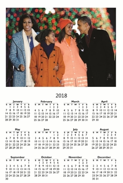 OBAMA FAMILY 2018 CHRISTMAS WALL CALENDAR 11 X 17""