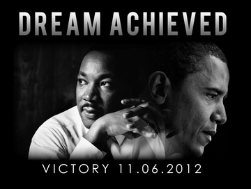 "Obama, MLK Dream Achieved Poster 11"" x 17"""