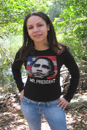 Obama Mr. President Long Sleeve Rhinestone Shirt