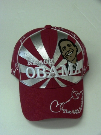 Obama Red Silver Portrait Commerative Hat