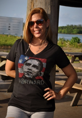 Obama Rhinestone 2012 Forward Women's Bling V-Neck Shirt