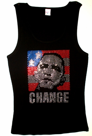 "Obama Rhinestone ""Change"" Tank Top"