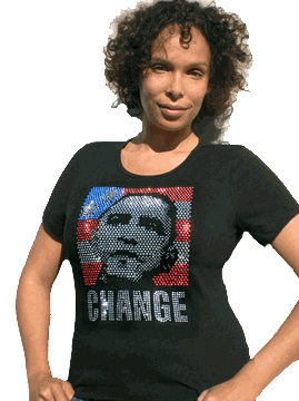 "Obama Rhinestone ""Change"" Womens Fitted T-Shirt"
