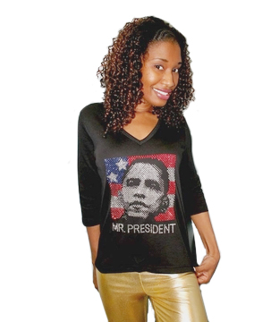 "Black History / Presidents Day Special Obama Rhinestone ""Mr President""  3/4 Sieve Women""s V-Neck Shirt Only $12!"