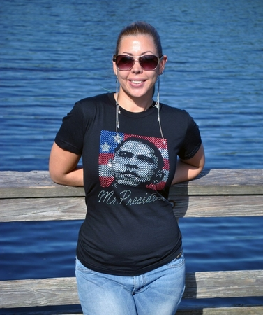 "Obama Rhinestone ""Mr President"" Womens Fitted Shirt"