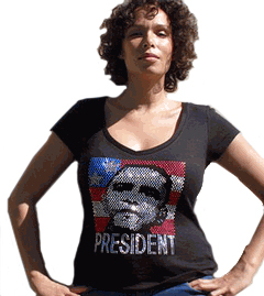 "Obama Rhinestone V-Neck ""President"" Shirt"