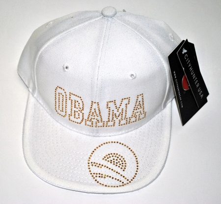 Obama Rhinestone White Logo Hat