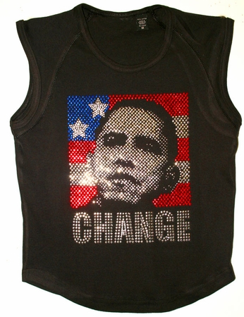 Obama Rhinestone Womens Sleeveless Shirt - Medium Size