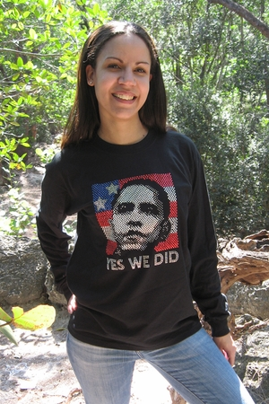 "Obama Rhinestone  ""YES WE DID""  Unisex Longsleeve Shirt"