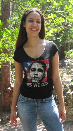 "Obama Rhinestone ""Yes We Did "" V-Neck Shirt"