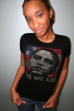 """Obama Rhinestone """"Yes We Did"""" Womens Fitted T-Shirt"""