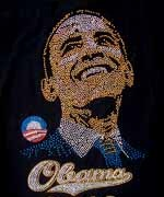 Obama Smiling Signiture Rhinestone T-Shirt