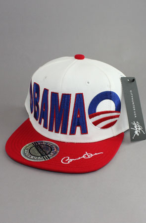Obama White / Red Snapback Baseball Hat