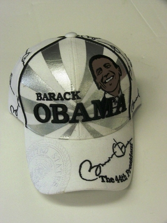 Obama White Silver Portrait Commerative Hat