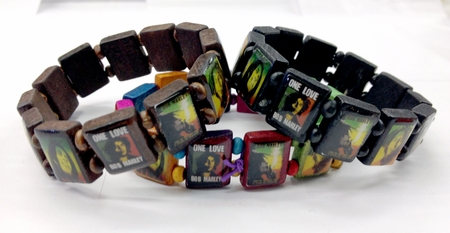 One Love Bob Marley Wooden Bead Bracelets