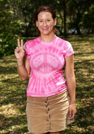 Pink Tie Dye Womens Peace T-shirt