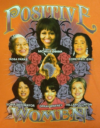 Positive Women Orange T-Shirt With Michelle Obama & Hillary Clinton- Two Sided!