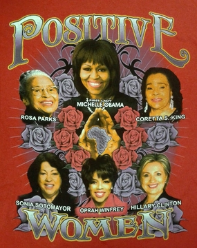 Positive Women Red T-Shirt With Michelle Obama & Hillary Clinton- Two Sided!