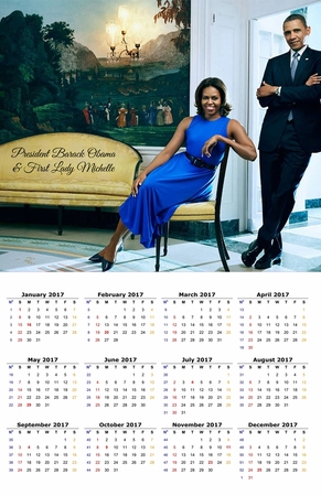 President Barack Obama & First Lady Michelle Elegance 2017 Commemorative Wall Calendar 11 x 17