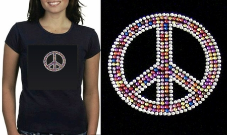 Rainbow Peace Sign Rhinestone  Babydoll Shirt