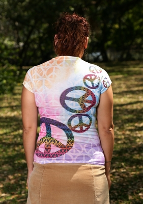 Rainbow Tie Dye Womens Peace Sign T-shirt