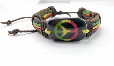 Rasta Peace Hemp and Leather Bracelet