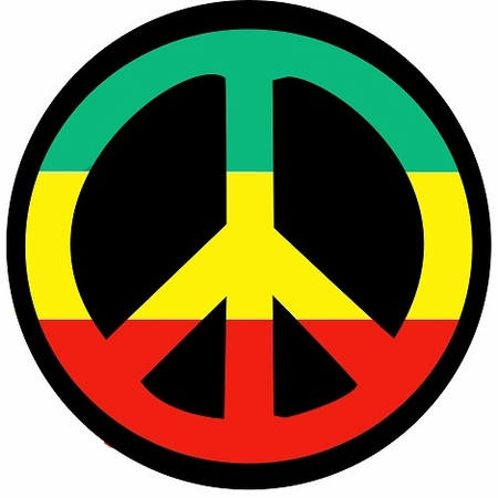 Rasta Peace Sign Black T-Shirt
