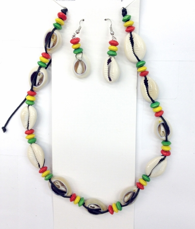 Rasta Seashell Necklace and earing set