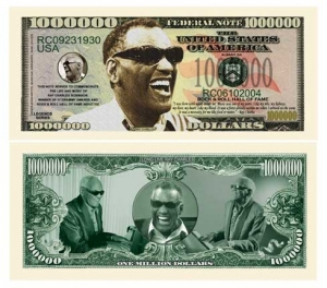 Ray Charles Commemorative Dollar Bill Bookmark