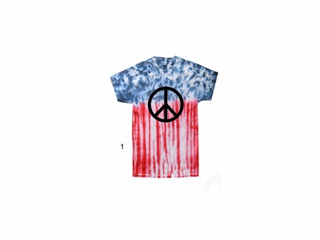 Red White & Blue Peace Tie Dye Shirt