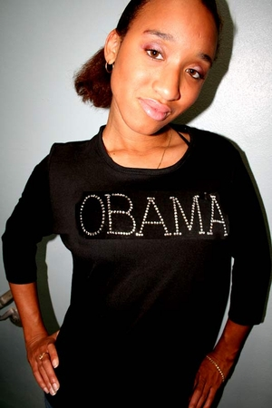 Rhinestone Obama 3/4 Sleve Shirt