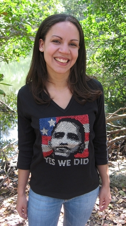 "Rhinestone Obama ""Yes We Did "" V-Neck 3/4 Sleeve Shirt"