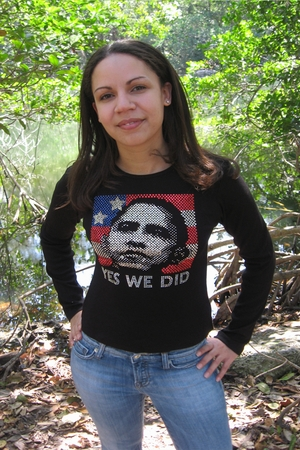 "Rhinestone Obama ""Yes We Did"" Womens Long Sleeve Shirt"