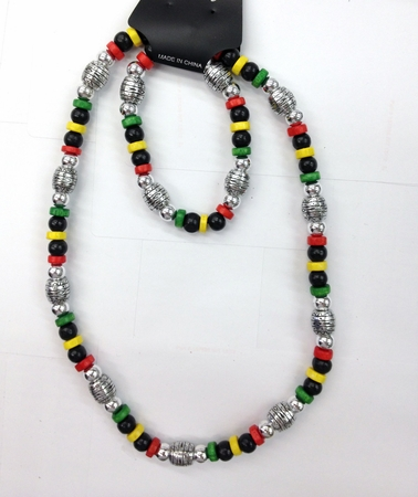 Silver Rasta Bracelet and Necklace set
