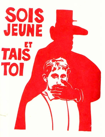 Sois Jeune et Tais Toi (Be Young and Shut Up) Paris May 68 Street Poster T-Shirt