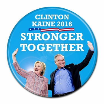 """Stronger Together"" Clinton Kaine Photo Button"