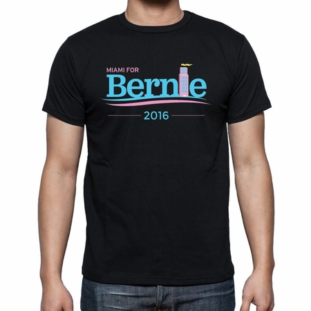 New! Unisex Miami for Bernie Black Art Deco T-shirt