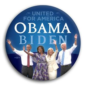 United for America Barack Obama and Joe Biden Button 3""