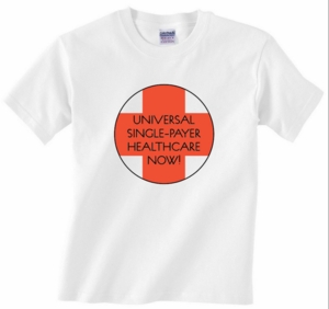Universal Single Payer Health Care Red Cross T Shirt